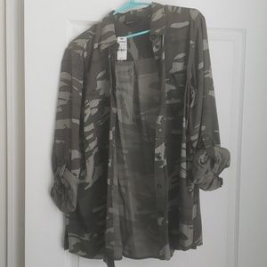 Camouflage Button Front Shirt